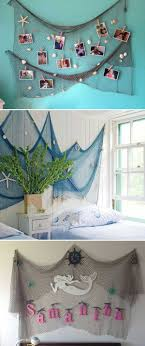 Bring The Feel Of The Sea To The Kid S Room By Hanging A Fishing Net Decoration Beach Themed Bedroom Mermaid Decor Bedroom Fish Net Decor