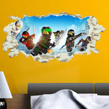 Lego Ninjago Wall Sticker Smashed Crack Kids Boys Bedroom Decal Gift V