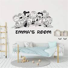 Amazon Com Snoopy Wall Decals Snoopy And Friends Peanuts Comics Customized Wall Decal Personalized Name Baby Girls Boys Kids Bedroom Wall Decal Home Kitchen
