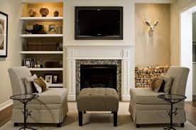 tv over fireplace floating shelves on