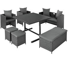 home 8 seater rattan cube set with