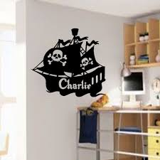 Decor Sticker Large Personalised Wall Art Pirate Ship Stickers Boys Mural Kids Name Decal Home Room Decor Wallpaper Poster Stickers Boy Decor Wallpapership Sticker Aliexpress
