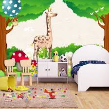 Shop Custom 3d Photo Wallpaper Green Forest Cartoon Animal Kingdom Wall Decoration Kids Room Bedroom Background Wall Mural Wallpaper Online From Best Wall Stickers Murals On Jd Com Global Site Joybuy Com
