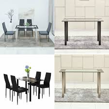 dining table set 4 chairs black thick