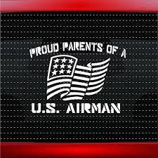 Amazon Com Noizy Graphics Proud Air Force Parents 1 Military Airman Car Sticker Truck Window Vinyl Decal Color White Automotive