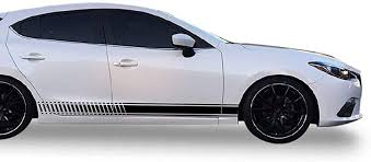 Amazon Com Bubbles Designs Decal Sticker Vinyl Side Sport Stripe Body Kit Compatible With Mazda 3 2013 2017 Black Automotive