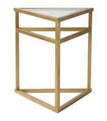 gold metal triangle glass top side