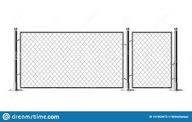 Realistic Metal Chain Link Fence Stock Vector Illustration Of Black Grid 141863472