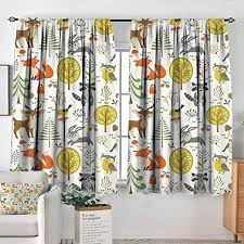 Amazon Com Elliot Dorothy Blackout Curtains Kids Woodland Forest Animals Trees Birds Owls Fox Bunny Deer Raccoon Mushroom Home And For Room Darkening Panels For Living Room Bedroom 52 X63 Home Kitchen