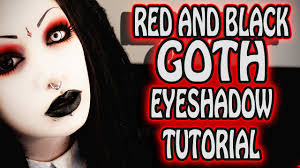 red and black goth eye makeup tutorial