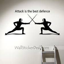 Attcak Is The Best Defence Sports Wall Sticker Sports Wall Decals Sports Wall Boys Room Wall Art