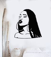 Vinyl Wall Decal Hairstyle African American Beautiful Woman Girl Head Wallstickers4you