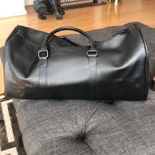 zara bags mens black leather duffle