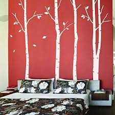 Amazon Com Comebaby Birch Tree Wall Decals For Living Room Tree With Leaves Stickers Nursery Decor Kids Room Bedroom Classroom White Kitchen Dining