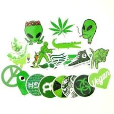 Green Weed Pot Leaf Stoner 420 Sticker Bomb Lot Pvc Vinyl Decal Pack 20 Pc Ebay