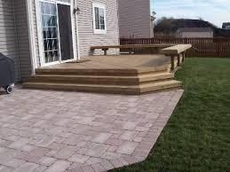 paver patio patio adjacent to deck