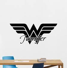 Custom Name Wonder Woman Logo Wall Decal Marvel Comics Personalized Superhero Vinyl Sticker Wall Deco Wall Decor Stickers Logo Wall Personalised Vinyl Stickers
