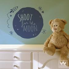 To The Moon Space Graphic Saying Phrase Vinyl Wall Sticker Kids Room Wallternatives