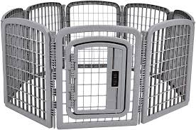 Amazon Com Amazonbasics 8 Panel Plastic Pet Pen Fence Enclosure With Gate 59 X 58 X 28 Inches Grey Pet Supplies