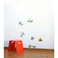 Adzif 32 In X 38 In Multi Color Dragonflies And Ladybugs Kids Wall Decal L6027 Ajv5 The Home Depot