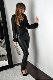 sheer black blouse leather pants and