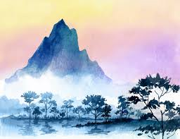 Wrought Studio Farrar Removable Watercolor Mountains 8 L X 125 W Wall Mural Wayfair