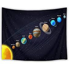 Amazon Com Lb Solar System Tapestries Planets Revolve Around The Sun Wall Hanging Universe Tapestry For Kids Bedroom Living Room Dorm Wall Decor Birthday Party Backdrop 60wx40h Inches Home Kitchen