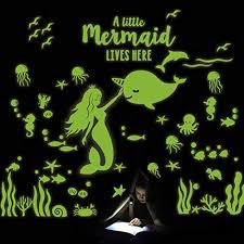 Glow In The Dark Mermaid Narwhal Fish Wall Stickers Under The Sea Party Wall Decal For