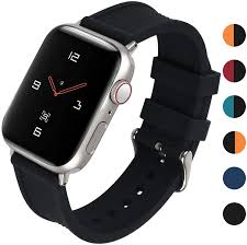 Amazon.com: Fullmosa Silicone Watch Bands Compatible for Apple Sports Watch  40mm 44mm Series 4, 6 Colors Choose Soft Silicone Sports Watch Strap Women  Men with Stainless Steel Buckle, Black: Clothing