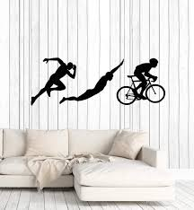 Vinyl Wall Decal Triathlon Sports Silhouettes Athlete Running Swimming Wallstickers4you