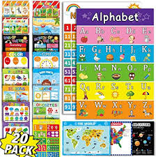 Amazon Com Educational Preschool Poster For Kids Toddler Classroom Learning Alphabet Numbers Shaprs Colors Time Map Posters Nursery Home School Kindergarten Play Room 20 Pack Everything Else