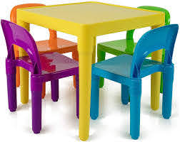 Amazon Com Kids Activity Table And Chairs Set Toddler Activity Chair Best For Toddlers Reading Train Art Crafts Play Room 4 Childrens Seats With 1 Table Sets Little Kid Children Furniture Accessories Home