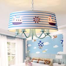 5 Lights Strips Hanging Chandelier Nautical Children Room Metal Ceiling Fixture In Blue Beautifulhalo Com