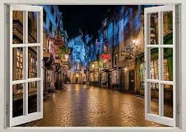 Harry Potter Castle Diagon Alley Wizard 3d Effect Window Wall Sticker Poster 651 Ebay