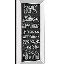 Family Rules 42 Inch X 18 Inch Framed Wall Art Bed Bath Beyond