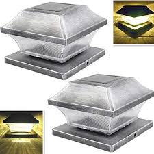 Amazon Com Solar Post Cap Lights Outdoor Super Bright 15 Lumen 5 Root Vinyl Silver Lantern For 4x4 5x5 Wood Or Pvc Posts Fence Light Warm White Led Deck Lighting Waterproof Porch Caps