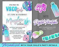 Vsco Girl Invitation Birthday Party Personalized Vsco Party