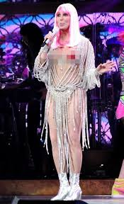 cher performs in pasties wigs