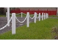 Plastic 600mm White Post And 1m White Chain Garden Fence Pack Garden Fence Fence Garden