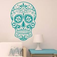 Sugar Skull Wall Decal Mexican Dia De Los Muertos Vinyl Removable Home Art Decor Ebay