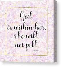 god is in her she will not fall bible quote canvas print