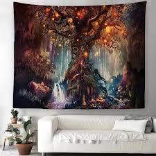 magical forest tree tapestry art wall