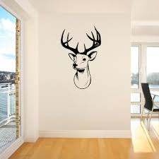 3d Stags Head Deer Trophy Antlers Steer Vinyl Wall Art Sticker Room Decal Deer Head Wall Picture For Home Living Room Decor J526 Vinyl Wall Vinyl Wall Artstickers Room Aliexpress