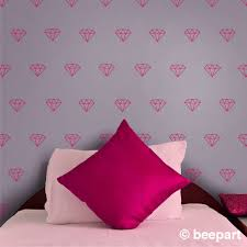 Diamond Wall Decal Diamond Pattern Gemstone Wall Stickers Jewel Art Precious Stones Bedroom Decor Gift For Girls Teen Girl Bling