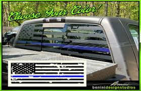 Blue Line American Flag Pick Up Truck Back Window Decal Matte Black F150 F250 Ebay