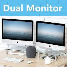 clear tempered glass monitor stand