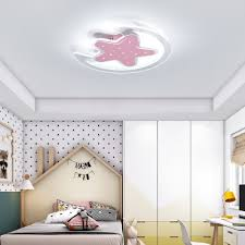Cartoon Star And Moon Design Led Flush Mount Ceiling Light For Kids Bedroom Study Room Susuohome Com