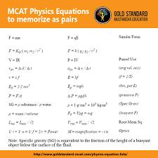gold standard mcat physics equations