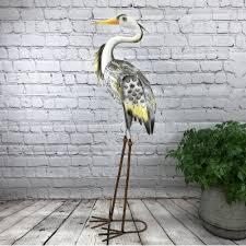 heron solar light garden ornament