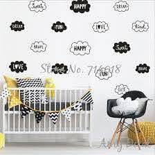Black And White Cloud Wall Decals Cute Cloud Words Wall Decal Set Nursery Decor Kids Room Quotes Vinyl Wall Stickers A810 Vinyl Wall Stickers Wall Stickerdecoration Kids Room Aliexpress